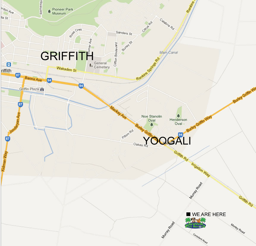 Images Of Google Site Map: Griffith Pet Resort Location